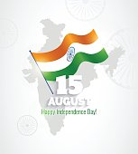 15 August. Indian Independence Day greeting card.