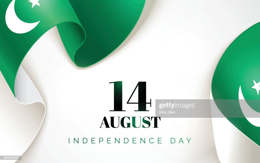 14 August. Pakistan Independence Day greeting card.