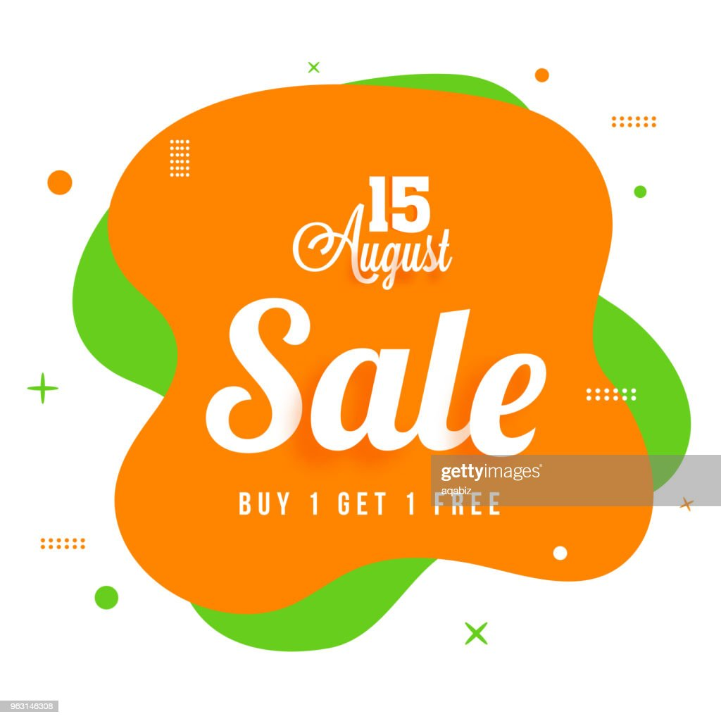 15 August Sale, Banner, Poster Design on Tricolors Background.
