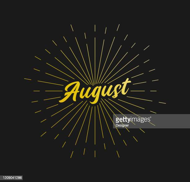 august. sunburst line rays. for greeting card, poster and web banner. vector illustration, design template. - august stock illustrations