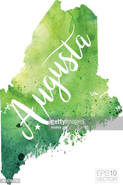 augusta, maine usa vector watercolor map - augusta maine stock illustrations