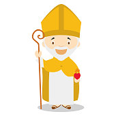 Augustine of Hippo cartoon character. Vector Illustration. Kids History Collection.
