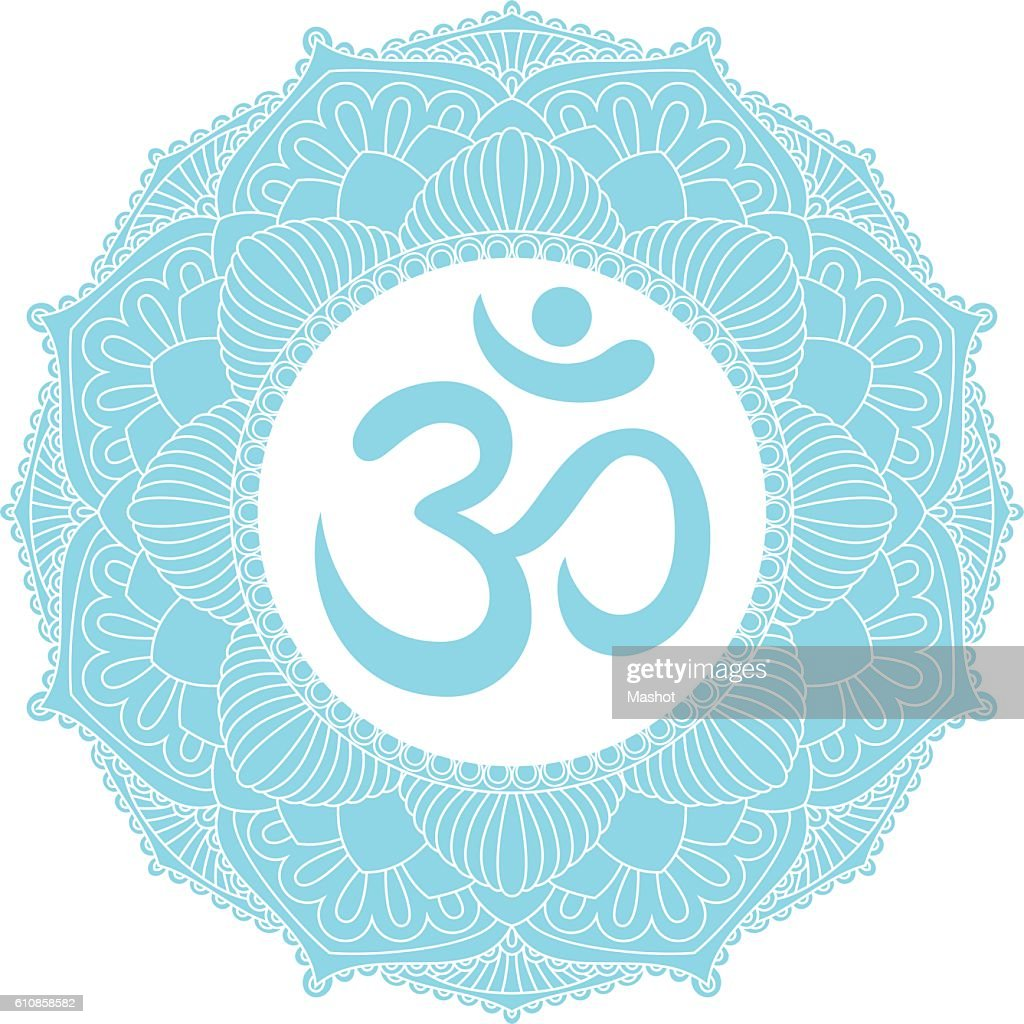 Aum Om Ohm symbol in mandala ornament.