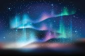 Aurora blue sky, stars milky way, astronomy background, Vector illustration