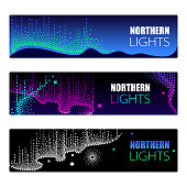 Aurora borealis lights in dotwork style on the night background for arctic space or galaxy design.