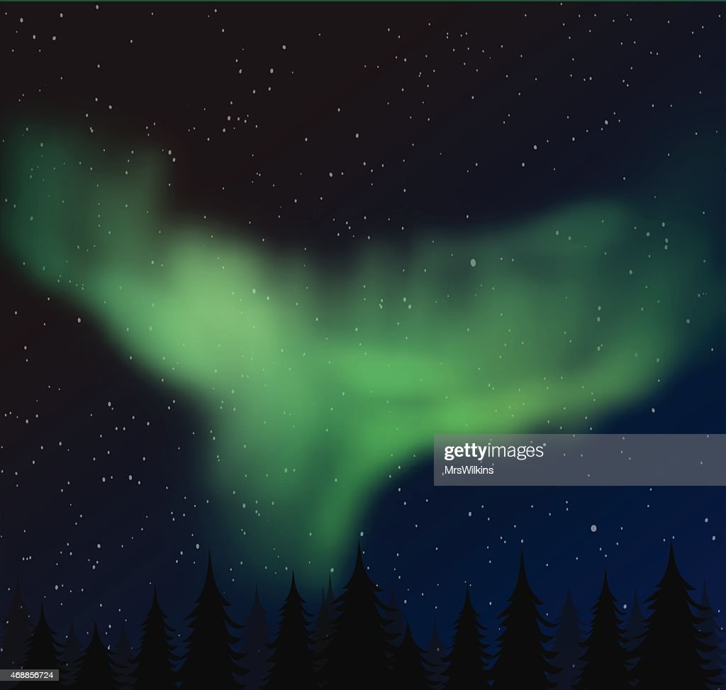 Aurora borealis vector illustration