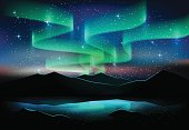 Aurora sky and stars on lake, astronomy background, Vector illustration