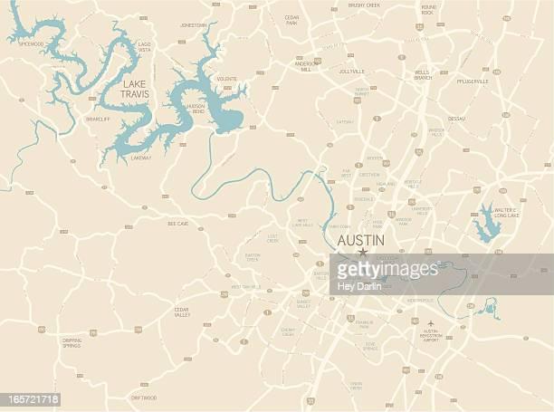 ilustrações, clipart, desenhos animados e ícones de de austin, texas mapa da área - mapa de rua