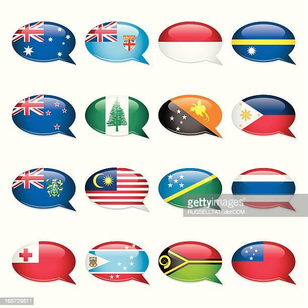 australasia-speech bubble flags - samoa stock illustrations, clip art, cartoons, & icons