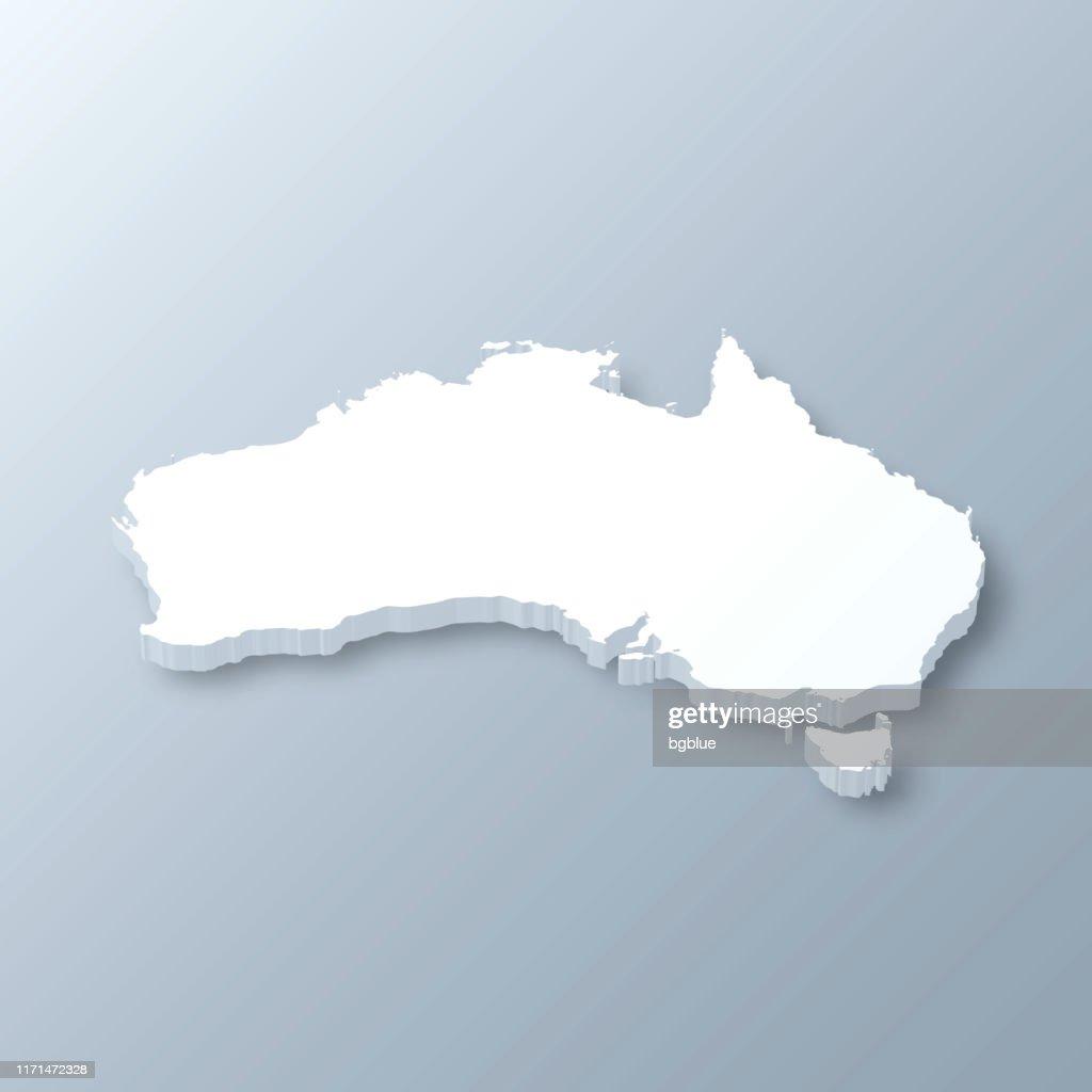 Australia 3D Map on gray background : Stock Illustration
