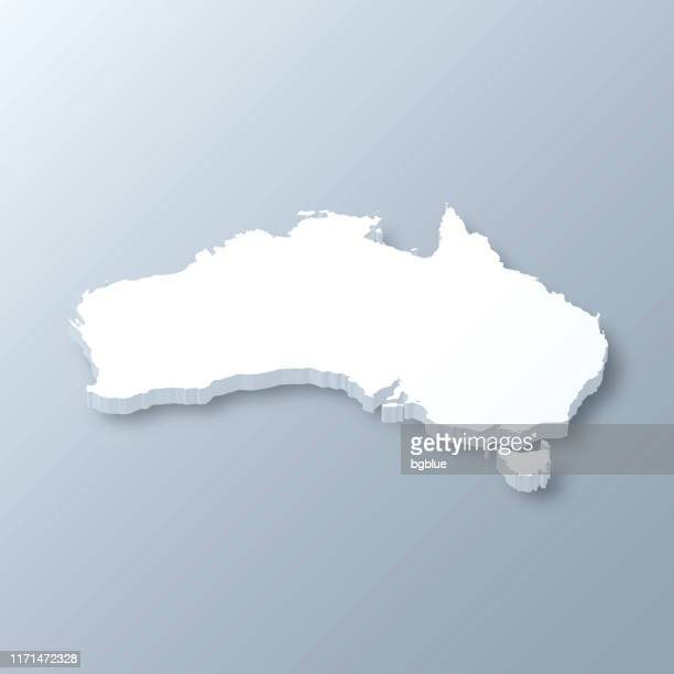 australia 3d map on gray background - australia stock illustrations