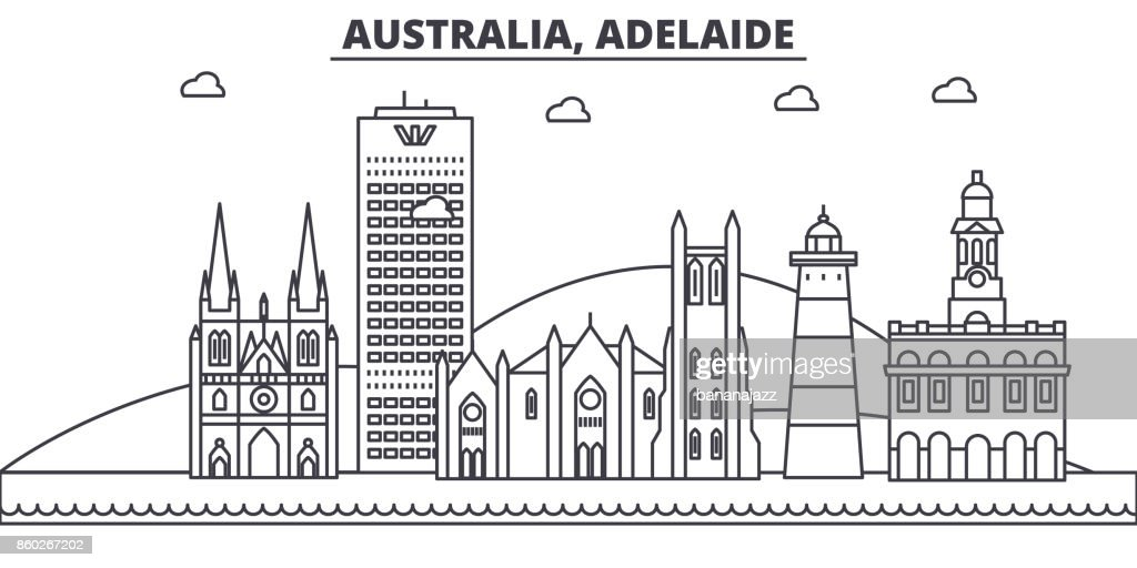 Australia, Adelaide architecture line skyline illustration. Linear vector cityscape with famous landmarks, city sights, design icons. Landscape wtih editable strokes