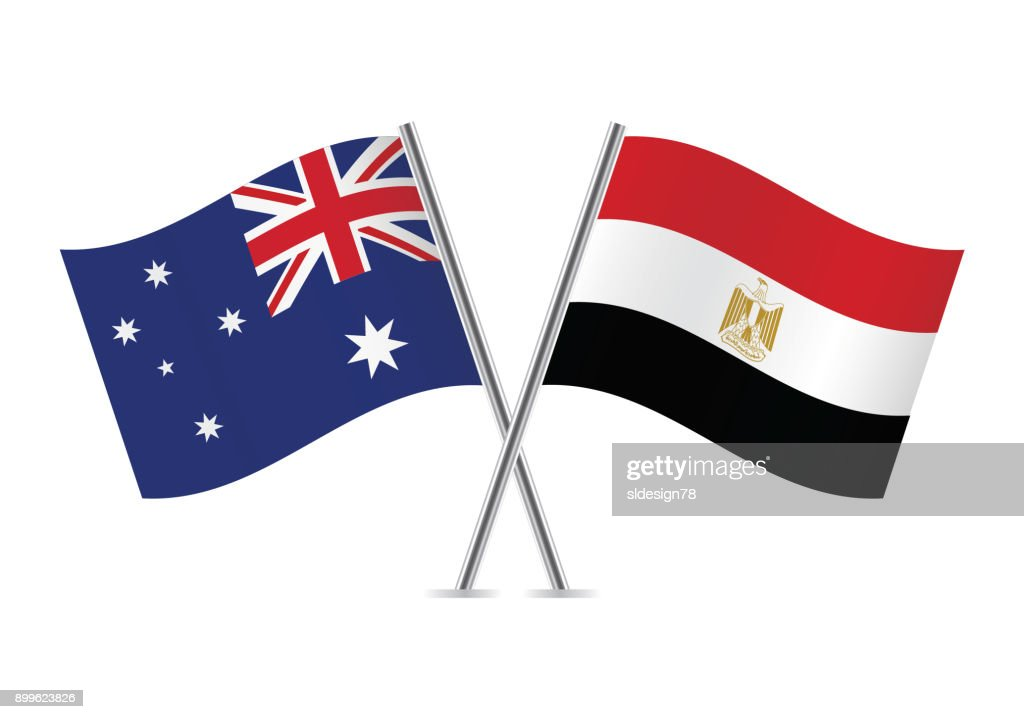 Australia and Egypt flags. Vector illustration.