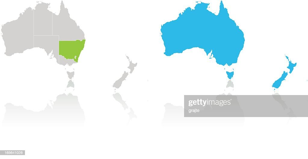 Australia and New Zealand highlighted by color on white map