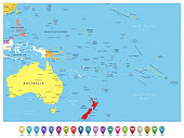 Australia and Oceania detailed political map and navigation icons