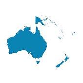 Australia and Oceania map. Flat vector