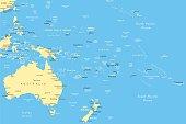 Australia and Oceania - map - illustration
