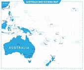 Australia and Oceania Map - Illustration