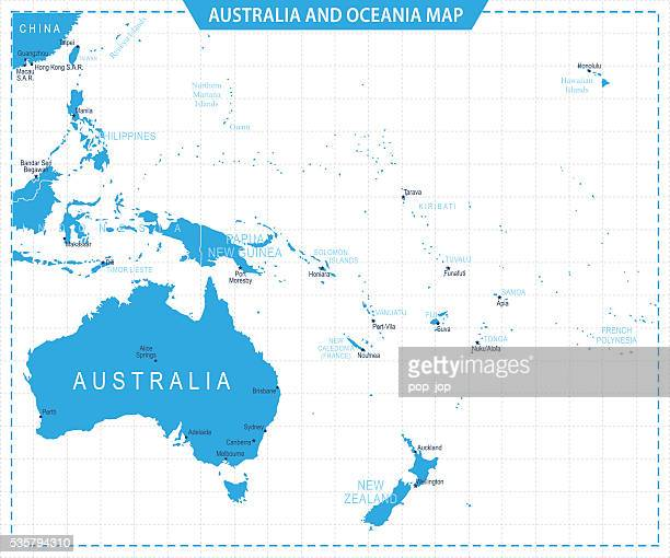 australia and oceania map - illustration - new caledonia stock illustrations