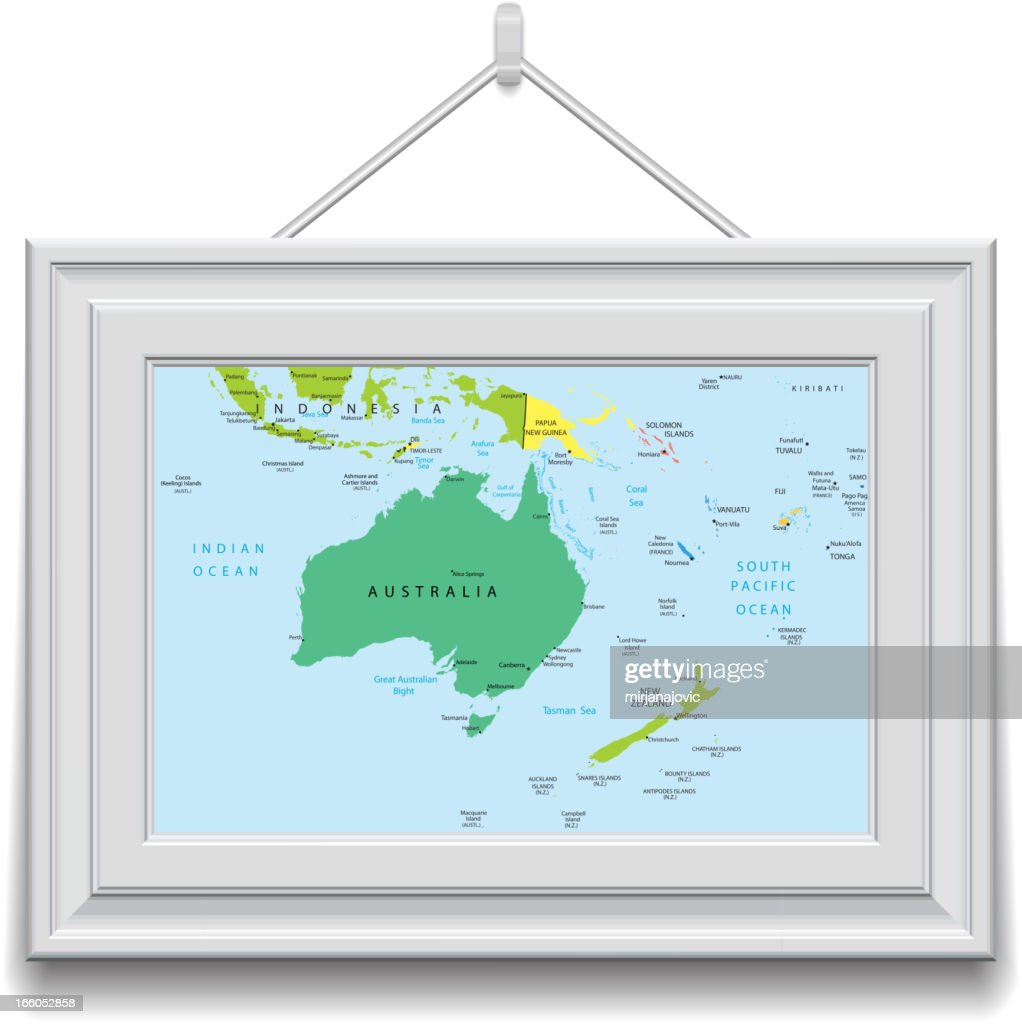 Australia and Oceania map in a frame : Stock Illustration