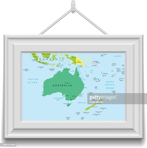 Australia and Oceania map in a frame