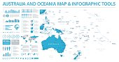 Australia and Oceania Map - Info Graphic Vector Illustration