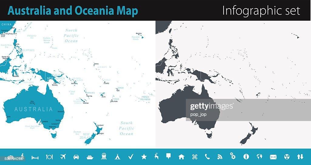 Australia and Oceania Map - Infographic Set