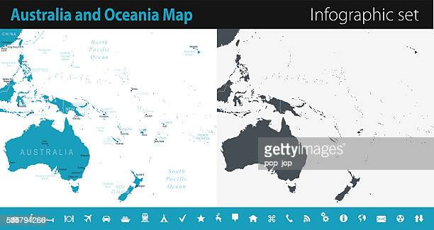australia and oceania map - infographic set - pacific ocean stock illustrations, clip art, cartoons, & icons