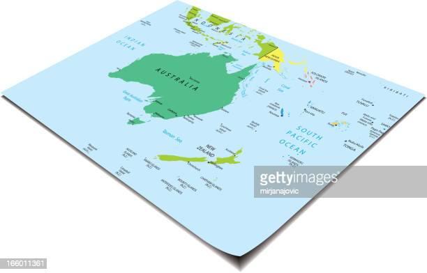 australia and oceania map - samoa stock illustrations, clip art, cartoons, & icons