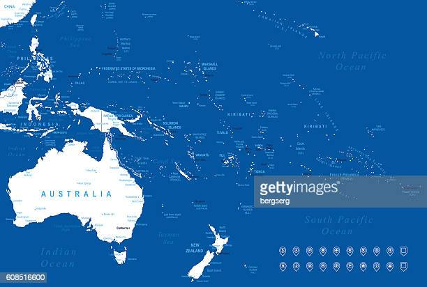 australia and oceania map - marshall islands stock illustrations, clip art, cartoons, & icons