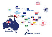 Australia and Oceania region vector high detailed map with countries names and national flags