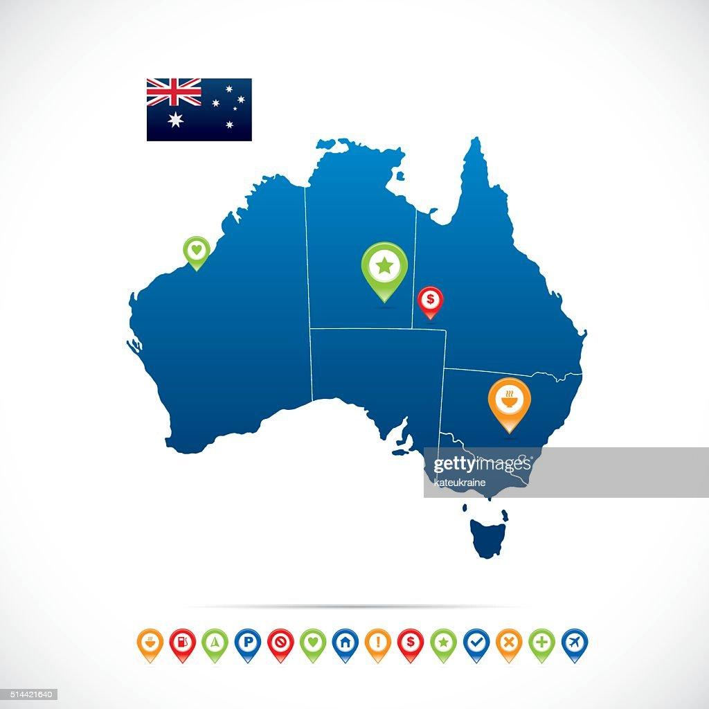 Australia Blue Map