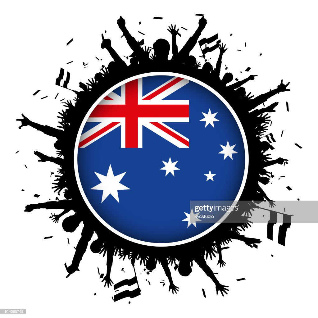Australia Button Flag With Soccer Fans 2018 High Res Vector