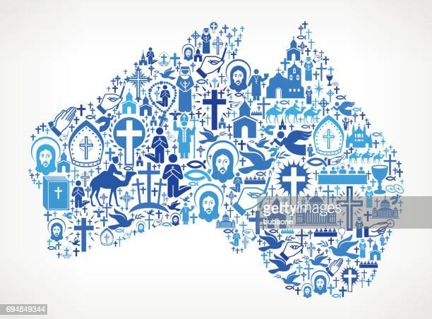 L'Australie christianisme et Religion Vector Icons Background