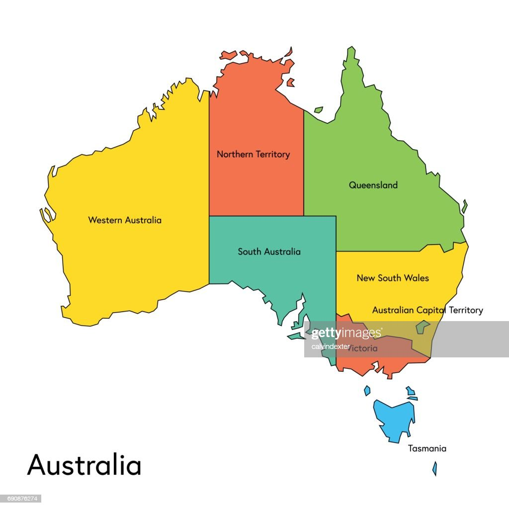 Regions Of Australia Map.Australia Color Map With Regions And Names Stock Illustration