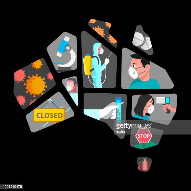 australia corona pandemic symptom and prevention - coronavirus australia stock illustrations