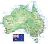 Australia - detailed topographic map - illustration
