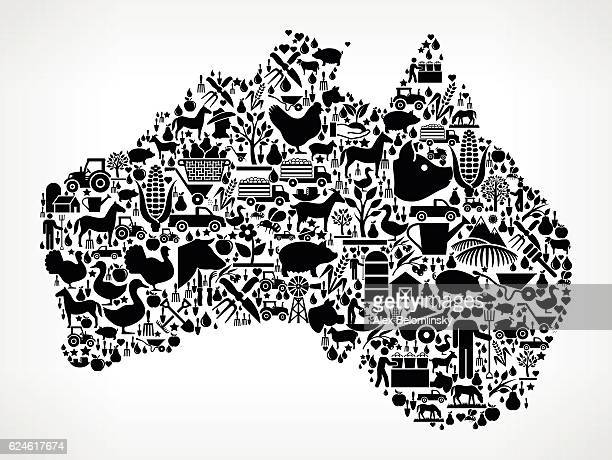 Australia Farming and Agriculture Black Icon Pattern