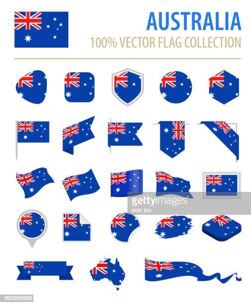 australia - flag icon flat vector set - australian flag stock illustrations