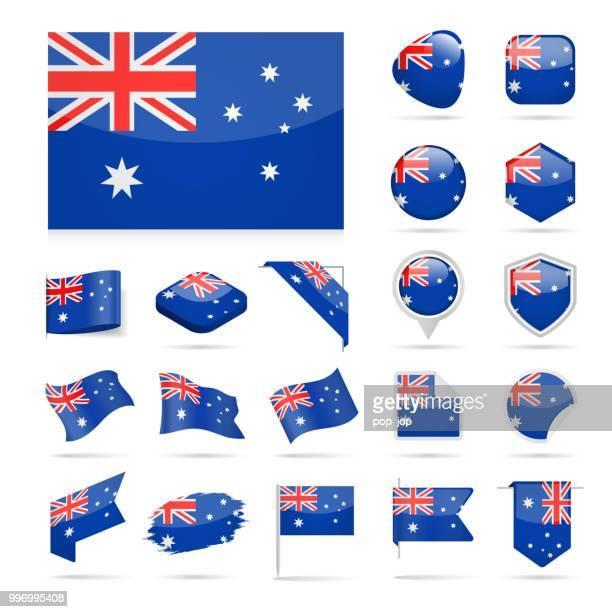 australia - flag icon glossy vector set - australian flag stock illustrations