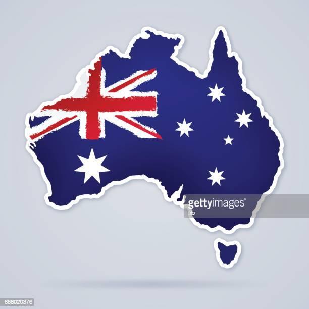 australia flag map - australia stock illustrations
