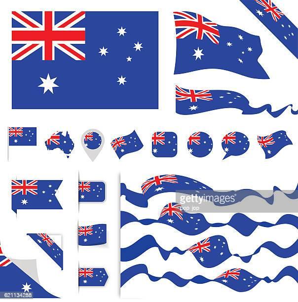 australia flag set - australian flag stock illustrations