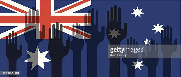 Australia Flag with Volunteer Hands