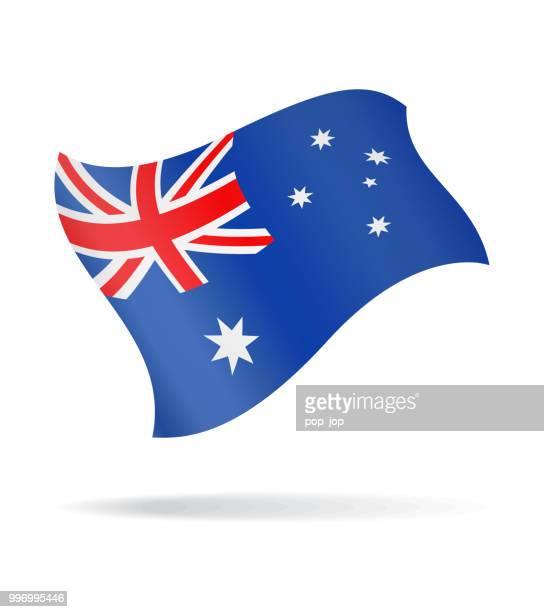 australia - flying flag vector glossy icon - australian flag stock illustrations