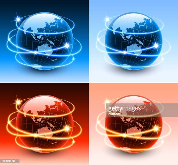 Australia Globe with abstract lights Background