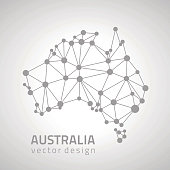 Australia grey dot outline vector triangle map