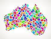 Australia Hand Prints royalty free vector art Pattern