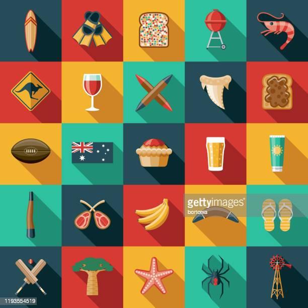 australia icon set - australia stock illustrations