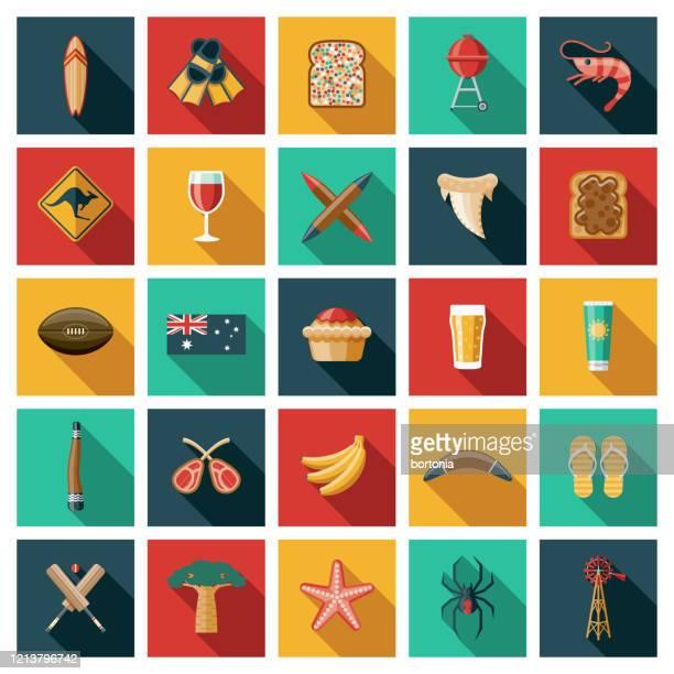 australia icon set - meat pie stock illustrations