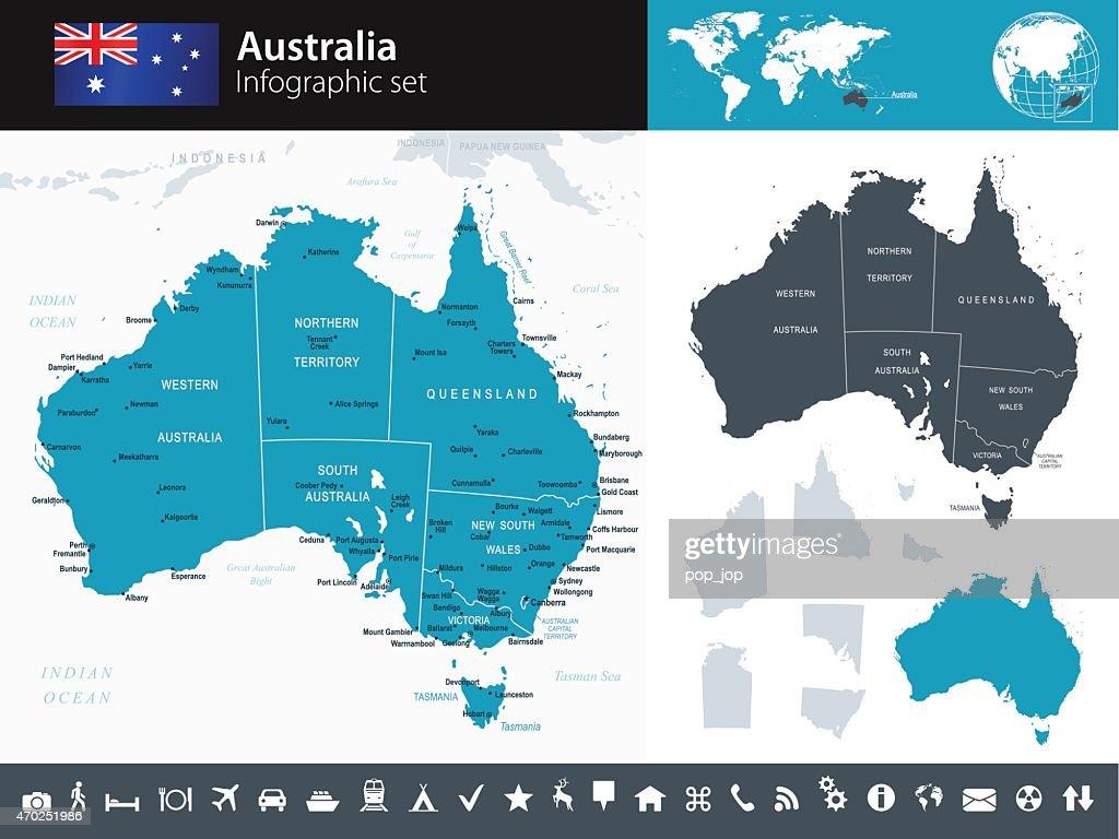 Australia - Infographic map - illustration : Stock Illustration